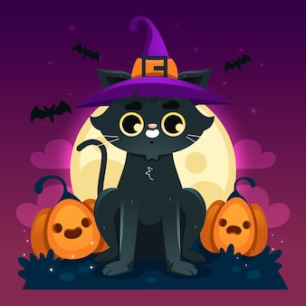 Concepto de gato plano de halloween