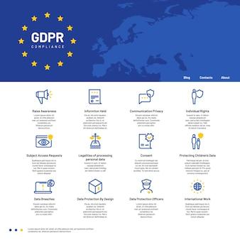 Concepto de gdpr. reglamento general de protección de datos, fondo de vector de comunicación personal de seguridad
