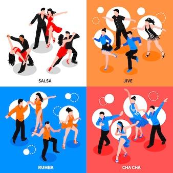 Concepto de gente isométrica de baile