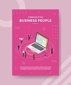 Concepto de gente de negocios para banner de plantilla y volante con estilo isométrico