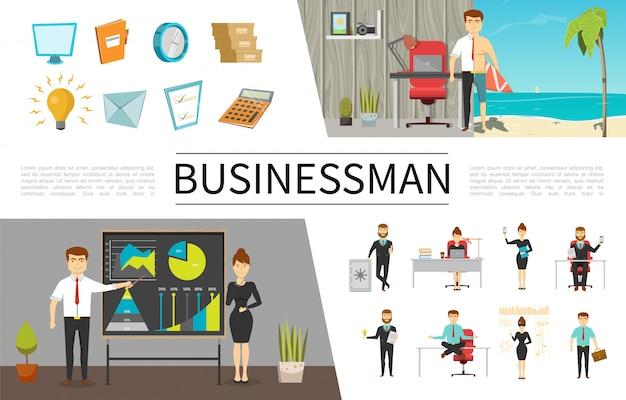 Concepto de gente de negocios plana con empresarios y mujeres de negocios en diferentes situaciones monitor reloj documentos bombilla carta lista de verificación calculadora