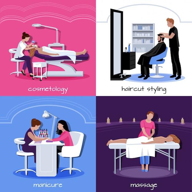 El concepto de la gente del salón de belleza con varios relaja procedimientos con estilo y cosméticos en estilo plano aislado ilustración vectorial