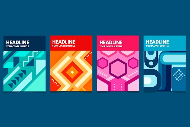 Concepto geométrico abstracto para colección de portadas