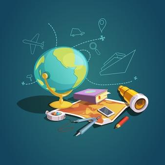 Concepto de geopraphy con conjunto de lección de escuela de dibujos animados retro