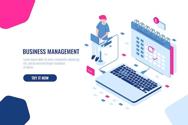 Concepto de gerente de negocios, horario en el calendario, marca importante asunto y evento en el calendario