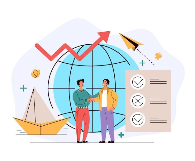 Concepto de gestión de búsqueda de trabajo global de la agencia de recursos humanos