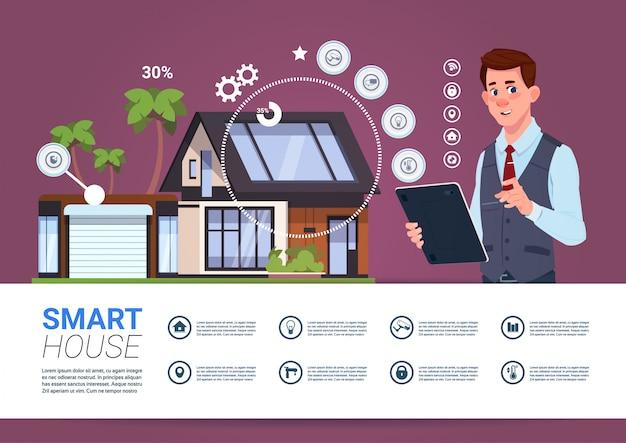 Concepto de gestión de casa inteligente con hombre sosteniendo dispositivo de tableta