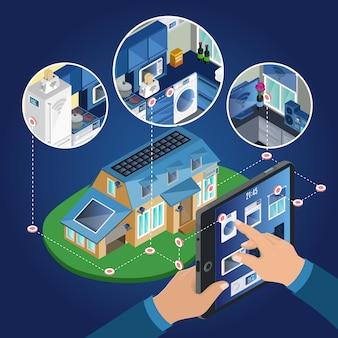 Concepto de gestión de casa inteligente isométrica