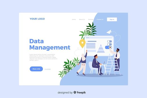 Concepto de gestión de datos para la página de destino