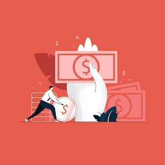 Concepto de gestión financiera, banca, préstamo, pago y devolución de efectivo, dinero de tenencia de mano