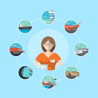 Concepto de gestión logística con operador de servicio.