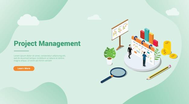 Concepto de gestión de proyecto 3d isométrico para el aterrizaje de plantilla de sitio web