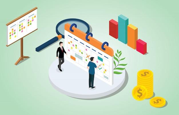 Concepto de gestión de proyecto 3d isométrico con calendario de negocios