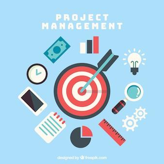 Concepto de gestión de proyectos en estilo flat con dardos