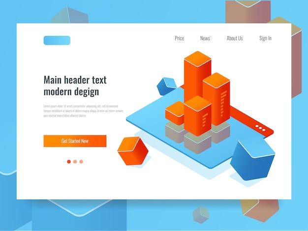 Concepto de gestión de la relación con el cliente, página web con gráfico de barras, sistema crm en línea