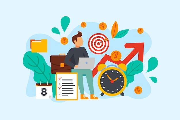 Concepto de gestión del tiempo y el carácter