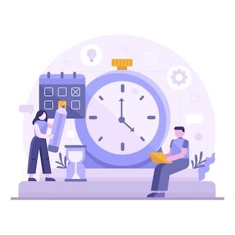 Concepto de gestión del tiempo dibujado a mano plana con pareja