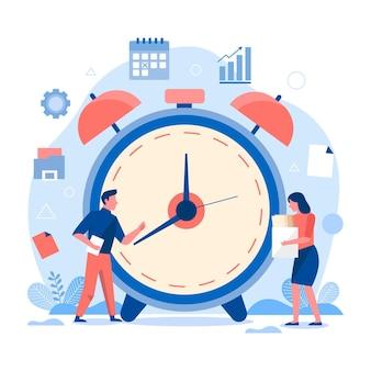 Concepto de gestión del tiempo dibujado a mano plana con personas