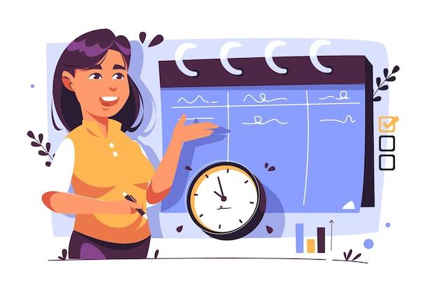 Concepto de gestión del tiempo dibujado a mano plana