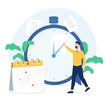 Concepto de gestión del tiempo de diseño plano