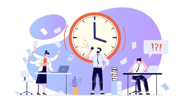 Concepto de gestión del tiempo. empleados que trabajan en la oficina para cumplir con el plazo. trabajadores de oficina ansiosos en pánico