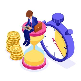 Concepto de gestión del tiempo con el empresario sentado en el reloj de arena y trabajando en la computadora portátil