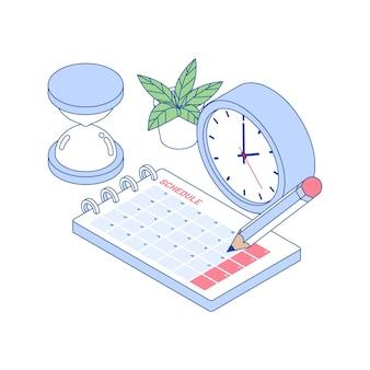 Concepto de gestión del tiempo de esquema isométrico