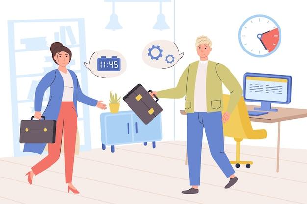 Concepto de gestión del tiempo hombre y mujer trabajan juntos en tareas de planificación de oficina
