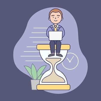 Concepto de gestión del tiempo. hombre de negocios exitoso