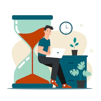 Concepto de gestión del tiempo con el hombre que trabaja en la ilustración de la computadora portátil