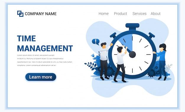 Concepto de gestión del tiempo con un hombre tratando de detener el tiempo en el reloj gigante.