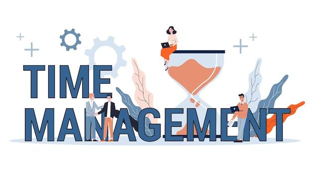 Concepto de gestión del tiempo. idea de horario y organización. optimización de jornada productiva y trabajo. banner web. ilustración