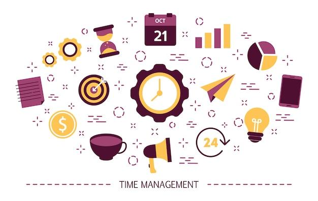 Concepto de gestión del tiempo. idea de horario y organización