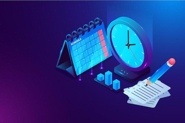 Concepto de gestión del tiempo isométrico