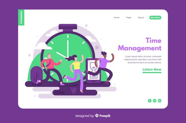 Concepto de gestión del tiempo para landing page