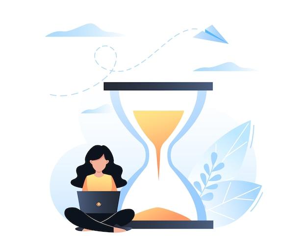 Concepto de gestión del tiempo, organización del tiempo de trabajo, plazo. la niña se sienta con una computadora portátil cerca del reloj de arena. ilustración vectorial