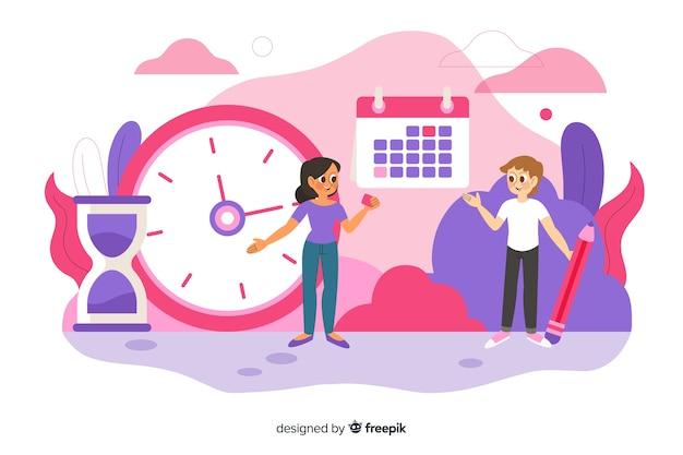 Concepto de gestión del tiempo para la página de inicio