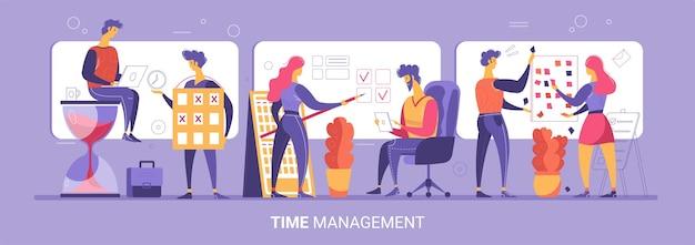 Concepto de gestión del tiempo con personajes