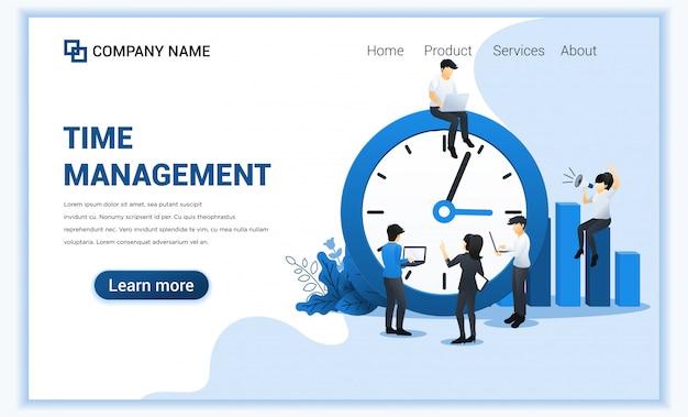 Concepto de gestión del tiempo con personas que planean un horario. ilustración plana