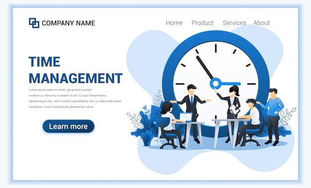 Concepto de gestión del tiempo con personas que planean un horario. liderazgo empresarial, asociación, trabajo en equipo. ilustración plana