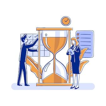 Concepto de gestión del tiempo personas y reloj de arena.