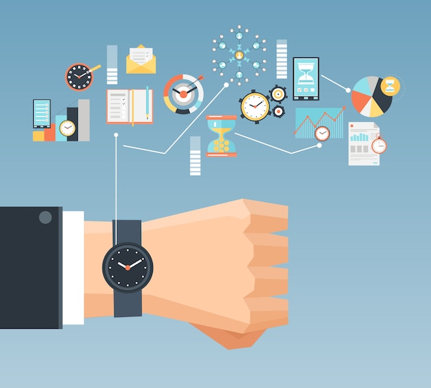 Concepto de gestión del tiempo plana composición cartel
