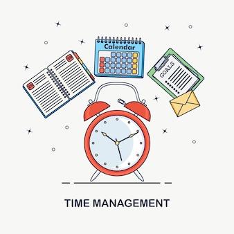 Concepto de gestión del tiempo. planificación, organización de jornada laboral. despertador, agenda, calendario, lista de tareas aisladas