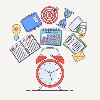 Concepto de gestión del tiempo. planificación, organización de jornada laboral. despertador, agenda, calendario, teléfono, lista de tareas aisladas en segundo plano.
