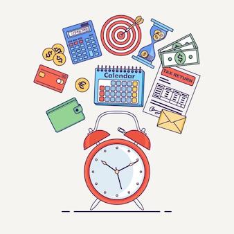 Concepto de gestión del tiempo. planificación, organización de jornada laboral. despertador, diario, calendario, formulario de impuestos, dinero, walet