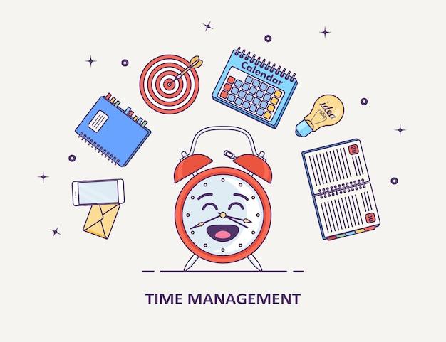 Concepto de gestión del tiempo. planificación, organización de jornada laboral. despertador divertido, agenda, calendario, teléfono, lista de tareas sobre fondo blanco.