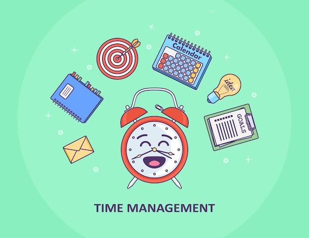 Concepto de gestión del tiempo. planificación, organización de jornada laboral. despertador divertido, diario, calendario, lista de tareas
