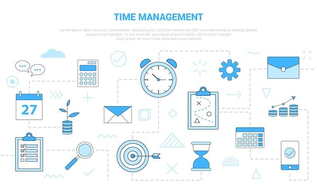Concepto de gestión del tiempo, reloj, plan, calculadora, calendario, arena, vidrio, con, icono, conjunto, plantilla, con, moderno, azul, color