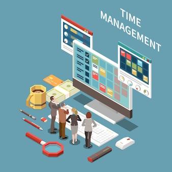Concepto de gestión del tiempo con símbolos de tiempo de planificación isométricos