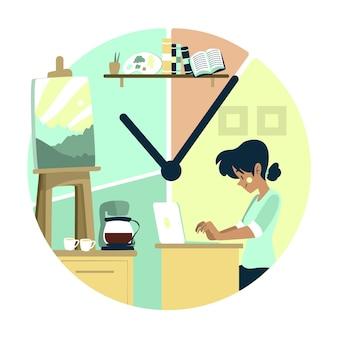 Concepto de gestión del tiempo trabajo y tiempo libre